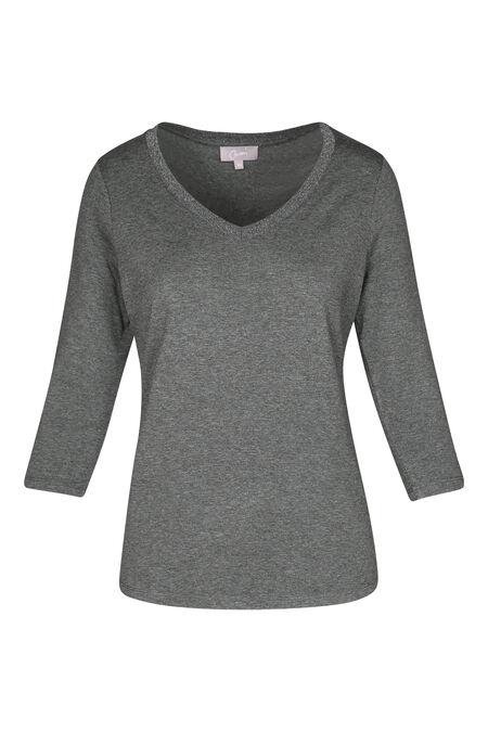 T-shirt met V-hals en lurex - Grijs