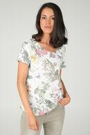 T-shirt met korte mouwen en bloemenprint 'Love deeply', Ecru