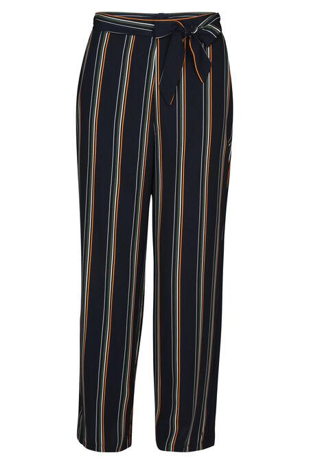 Brede broek met streepjes - Marineblauw