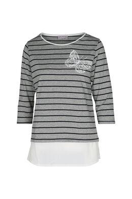 Gestreept T-shirt, Gris Chine