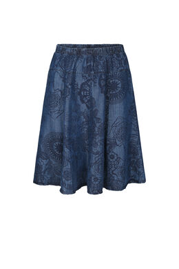 Rok in lyocell met mandalaprint, Denim