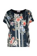 T-shirt met strepen en bloemen, Marineblauw