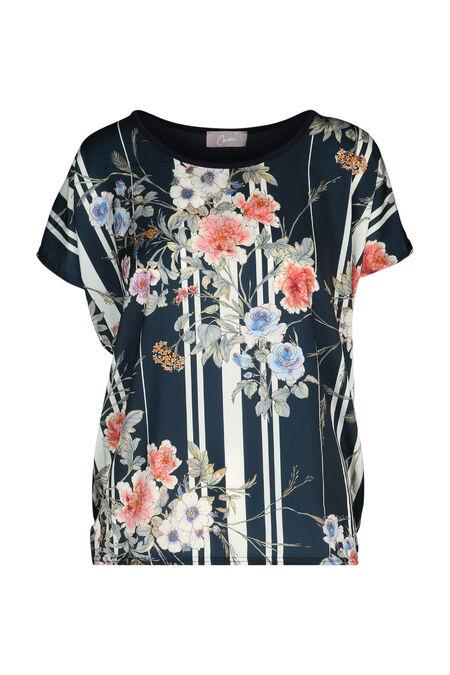 T-shirt met strepen en bloemen - Marineblauw