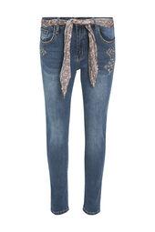 Cassis-Jeansbroek met striklint