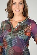 T-shirt col tunisien imprimé pastilles, multicolor