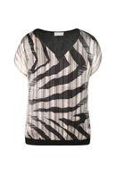 T-shirt bi-matière à imprimé zèbre, Noir/Taupe