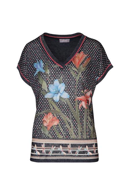 T-shirt bi-matière imprimés pois et fleurs - Corail
