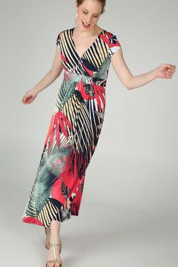 Robe longue imprimé feuilles de palmier, Framboise
