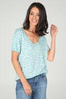 T-shirt met luipaardprint, Appelblauwzeegroen