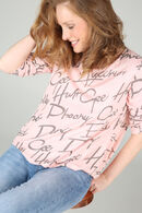 T-shirt imprimé de mots, Vieux rose