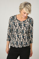 Blouse met slangenprint in folie, Blauw