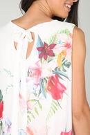 Blouse en voile imprimé fleurs tropicales, Ecru