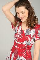 Robe longue imprimé fleurs et feuilles, Rouge