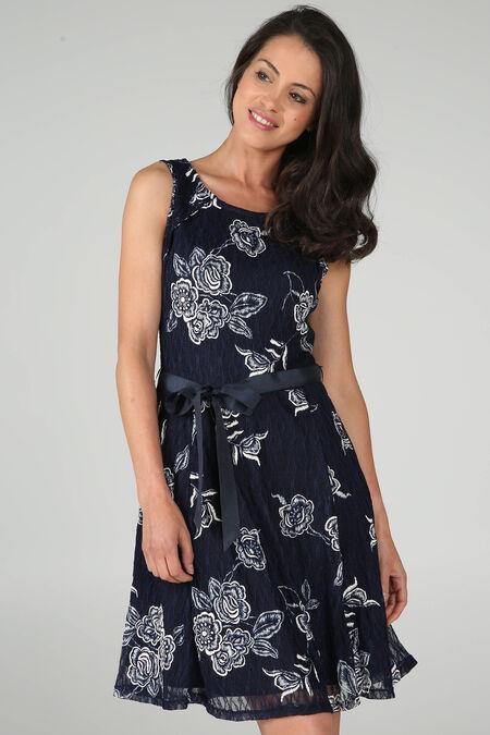 Kanten jurk met gom - Blauw/Ecru