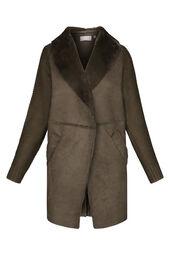 Lang vest in een combinatie van tricot en suèdine