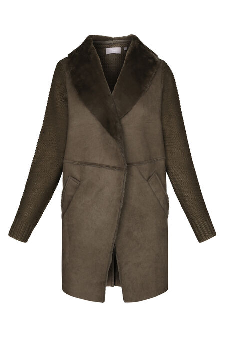 Veste longue mixe tricot et suédine - Kaki