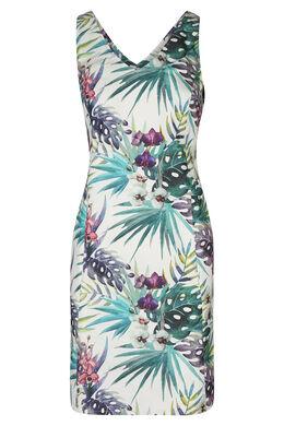 Katoenen jurk met jungleprint, Blauw