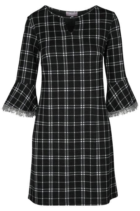 Geruite jurk - Zwart/Ecru