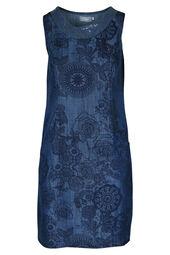 Mouwloze jurk in lyocell met geometrische en bloemenprint