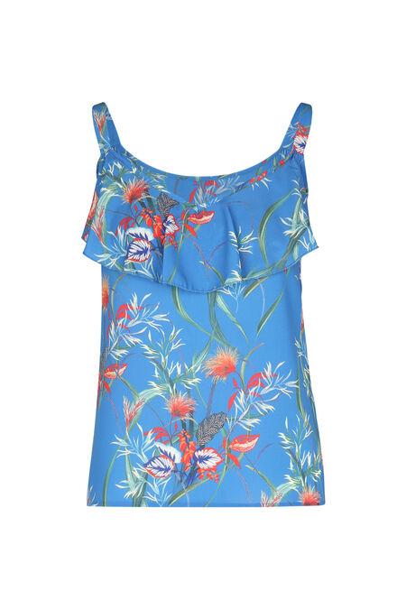 Top in crêpevoile met bloemenprint - Koningsblauw