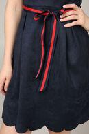 Uitlopende jurk met een strik op de taille, Marineblauw