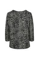 T-shirtsweater met luipaardprint, Zwart/Ecru