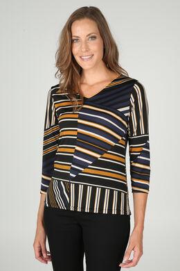 T-shirt met V-hals en gemixte streepjesprint, Oker