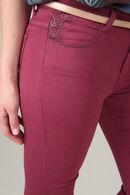 Pantalon détails broderies, Aubergine