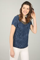 Blouse met slangenprint in frontkraaltjes, Denim