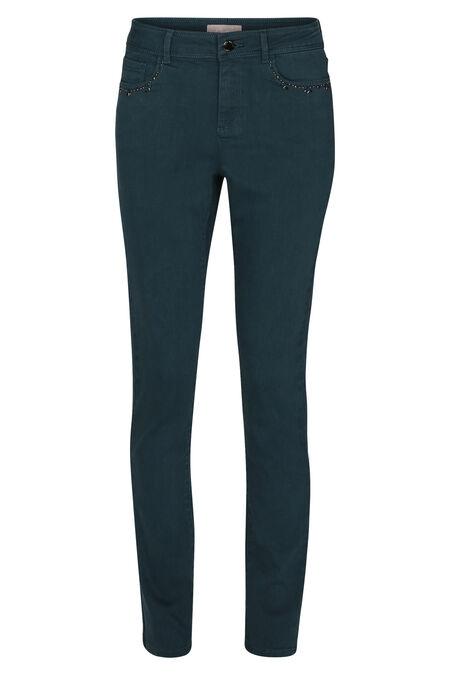 Pantalon en coton détails de perles aux poches - Canard