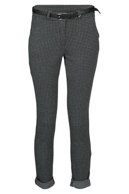 Geklede broek met minimalistische print, Zwart/Ecru