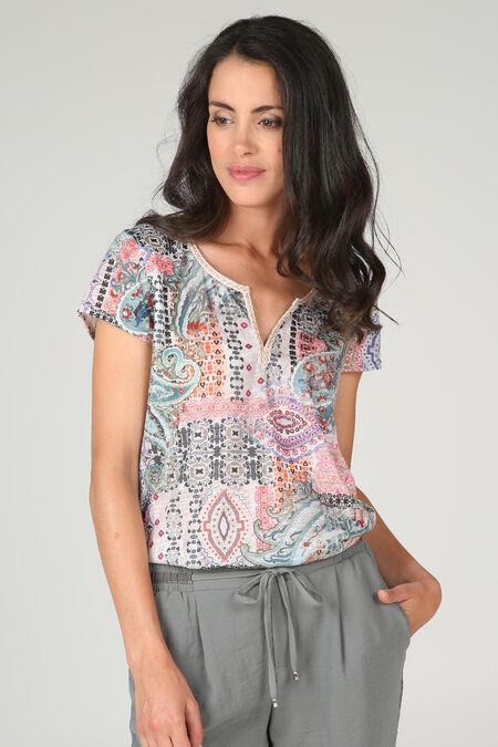 T-shirt Tunesische hals borduurwerk - Appelblauwzeegroen