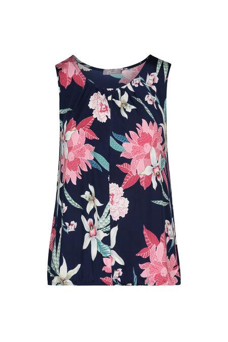 T-shirt in tricot met bloemen- en fantasieprint - Marineblauw