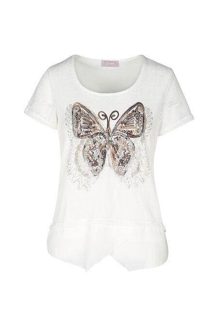 T-shirt papillon brodé - Ecru