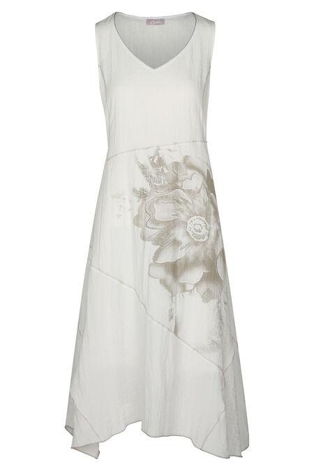Lange jurk bedrukt met een grote bloem - Ecru