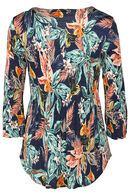 Shirt met plooitjes en een bloemenprint, Marineblauw