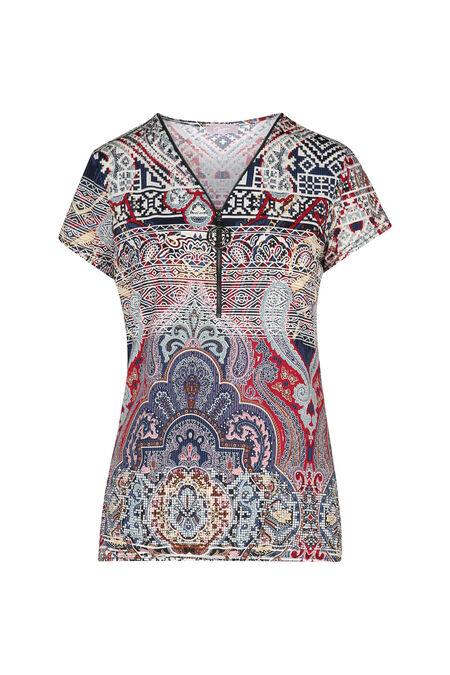 T-shirt met etnische print en ritshals met juweel - Marineblauw