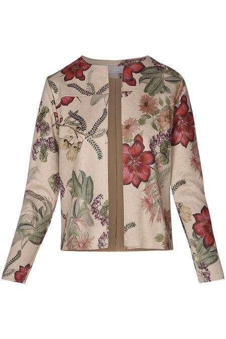 Veste en suédine imprimé fleuri - Beige