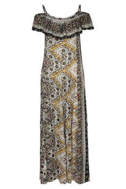 Lange jurk met Azteekse print, Oker