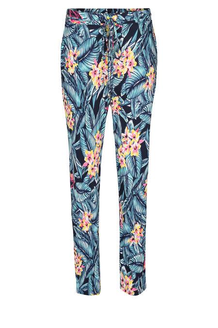 Soepel vallende broek met tropische print - Marineblauw