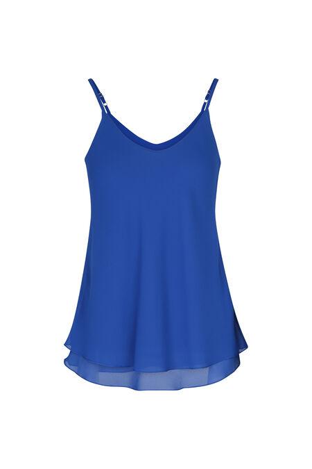 Top met dunne schouderbandjes in voile/crêpe - Koningsblauw