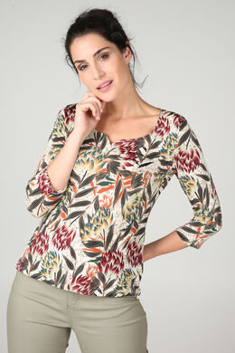 T-shirt in tricot met jungleprint, Terracotta