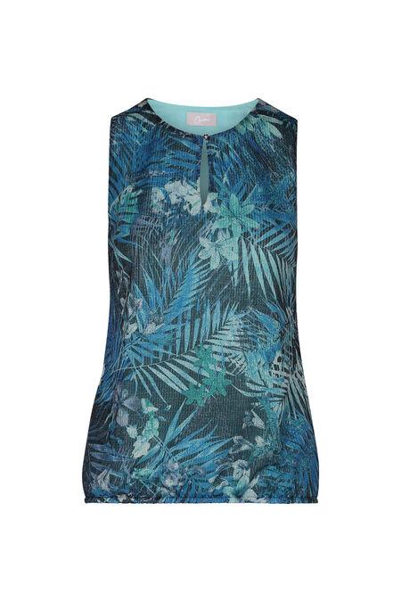 T-shirt met jungleprint en druppelopening - Marineblauw