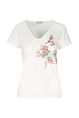 Katoenen T-shirt met borduurwerk, Ecru