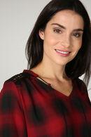 Geruite blouse met juweelhals, Rood