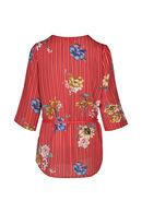 Tuniekhemd met strepen en bloemen, Rood