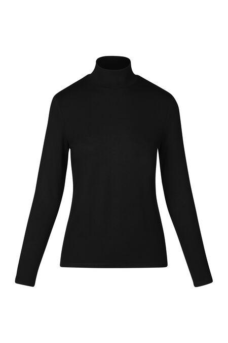 T-shirt lange mouwen en opstaande strikkraag - Zwart