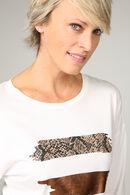 T-shirt met patchprint van dierenhuid, Caramel