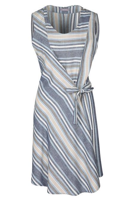 Gestreepte jurk - Blauw