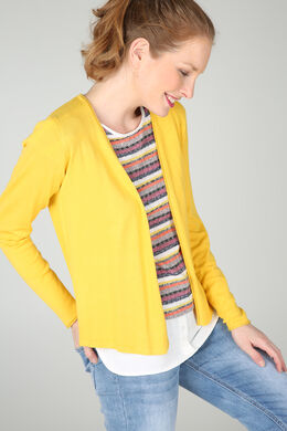 Cardigan avec finitions en lurex, Ocre
